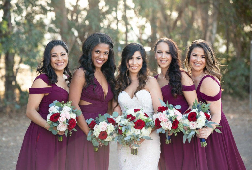 Bridesmaids, red and white florals, burgundy bridesmaid dresses