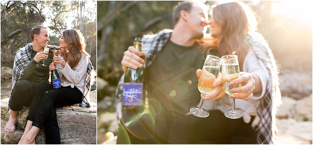 wilson creek champagne toast engaged couple
